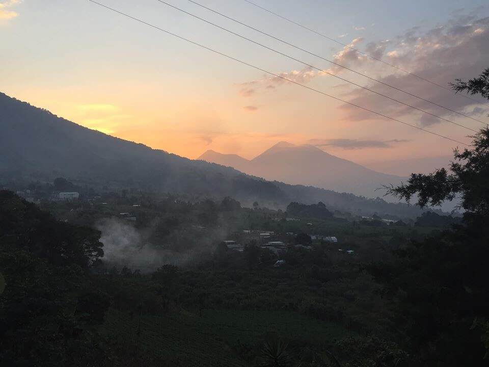 A view of the volcano Feugo behind Santa Maria, Guatemala