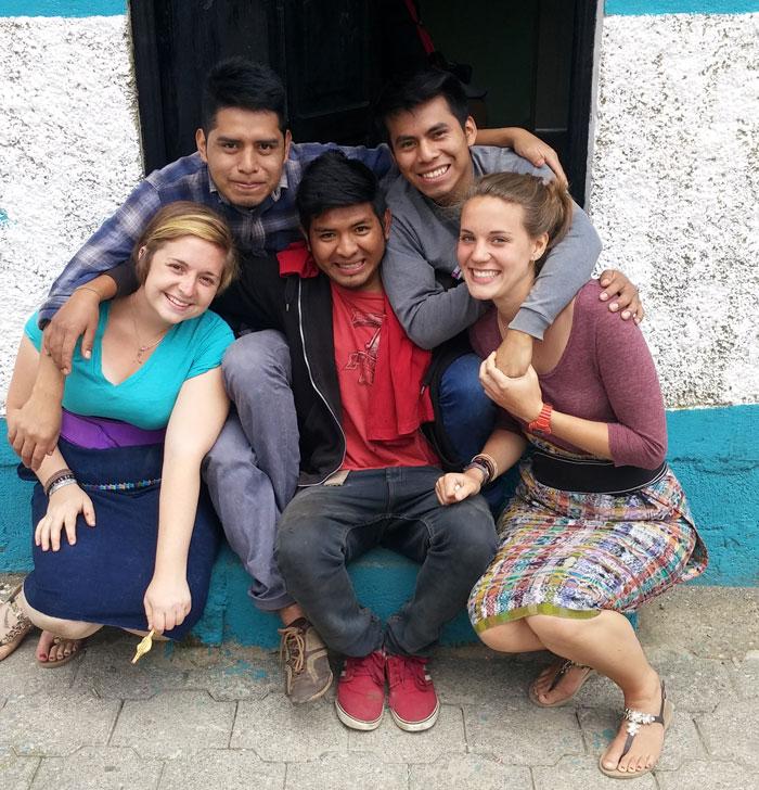 Brennan, Robin, Rocael, Wilson & Emily on the front doorstep